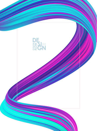 Modern abstract blank background with 3d twisted colorful flow liquid shape and frame.