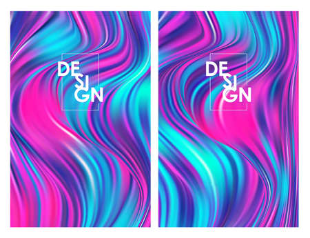 Vector illustration: Set of two modern colorfuls flow posters. Twisted wavy liquid background. Trendy art design  イラスト・ベクター素材