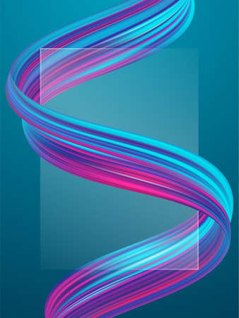 Vector illustration: Abstract poster background with 3d twisted colorful flow liquid shape. Acrylic paint design
