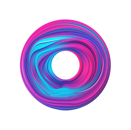 Vector illustration. Abstract 3d neon Colored flow shape. Colorful circle liquid of paint.
