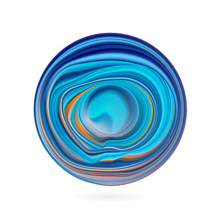 Vector illustration. 3d abstract color flow shape. Colorful circle liquid of paint.