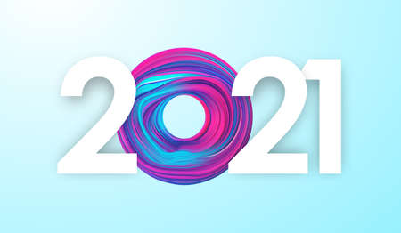 Vector illustration: Happy New Year 2021. Greeting card with colorful abstract fluid shape.