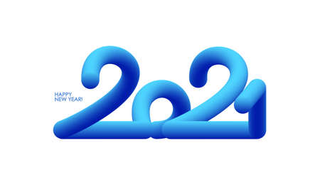 Vector Blue 3d number lettering of 2021 on white background. Happy New Year. Ilustracja