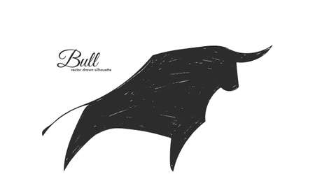 Vector Hand drawn silhouette of bull on white background. Ilustracja