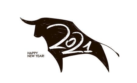 Vector Handwritten number of 2021 on silhouette of ox background. Happy New Year. Ilustracja