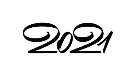 Handwritten calligraphic number lettering of 2021. Happy New Year. Ilustracja
