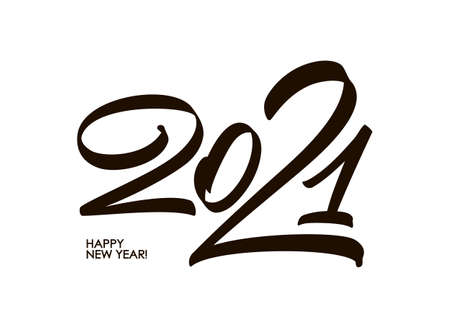 Handwritten calligraphic number lettering of 2021. Happy New Year. Chines calligraphy