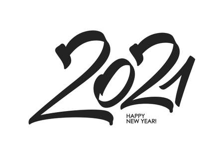 Hand number lettering of 2021. Happy New Year. Ilustracja