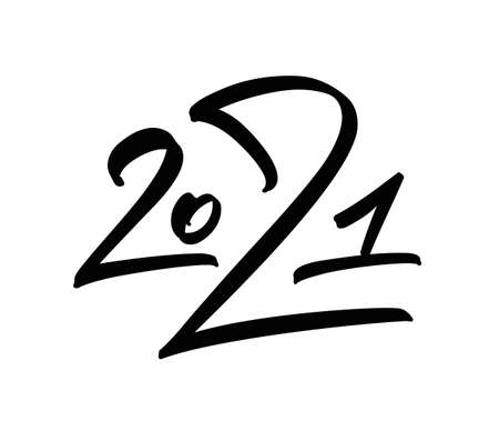 Handwritten number lettering of 2021. Happy New Year.
