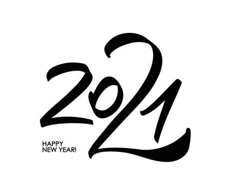 Hand number lettering of 2021. Happy New Year. Chines calligraphy Ilustracja