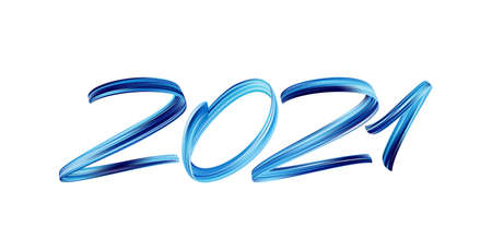 Vector Blue Brushstroke paint lettering calligraphy of 2021. Happy New Year