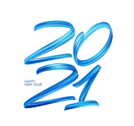Blue Brushstroke paint lettering calligraphy of 2021. Happy New Year