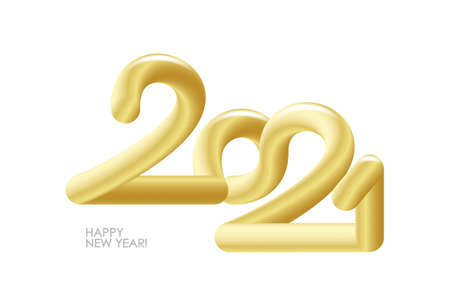 Vector 3d golden number of 2021 on white background. Happy New Year. Ilustracja