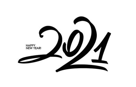 Handwritten calligraphic brush number lettering of 2021. Happy New Year. Ilustracja