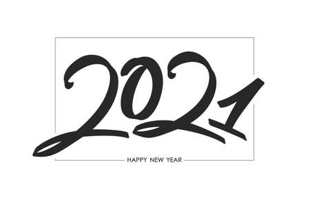 Handwritten calligraphic brush number lettering of 2021 in frame. Happy New Year.
