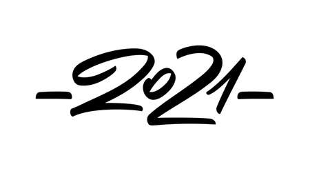 Handwritten brush number lettering of 2021. Happy New Year. Иллюстрация