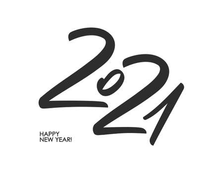 Handwritten brush calligraphic number lettering of 2021. Happy New Year.