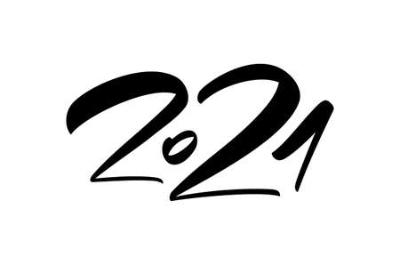 Vector Hand calligraphic number lettering of 2021. Happy New Year.