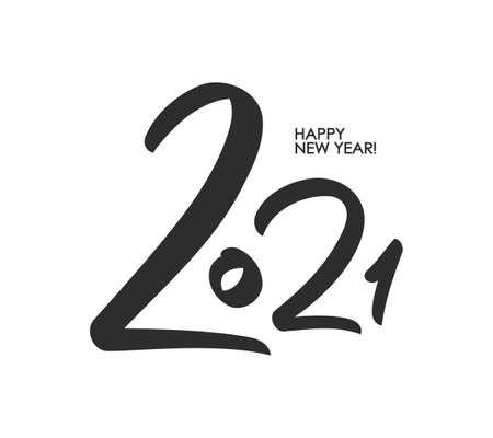 Vector Handwritten brush number lettering of 2021. Happy New Year. Ilustracja