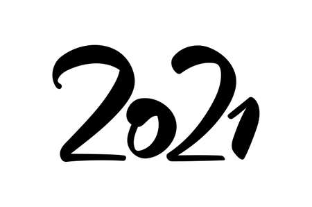 Vector Handwritten brush type number lettering of 2021. Happy New Year. Ilustracja