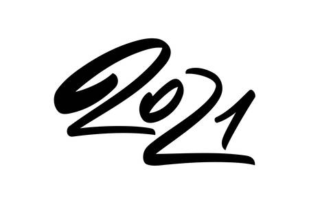 Vector Handwritten calligraphic brush type number lettering of 2021. Happy New Year.