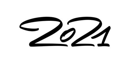 Vector Hand calligraphic brush number lettering of 2021. Happy New Year.