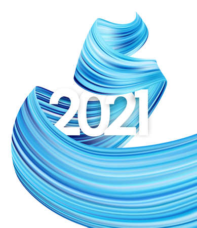 Happy New Year. Number of 2021 with twisted blue color paint stroke shape. Trendy design