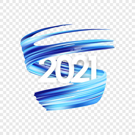 Happy New Year. Number of 2021 with twisted blue color paint stroke shape.