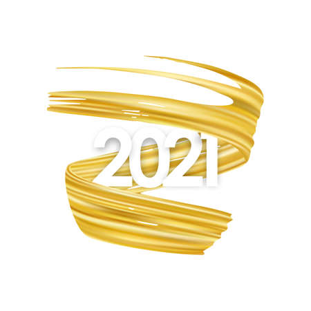 Happy New Year. Number of 2021 with twisted gold colored paint stroke shape.