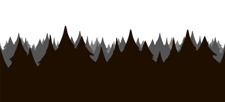 Vector illustration: Seamless cartoon pine forest. Woodland silhouette.