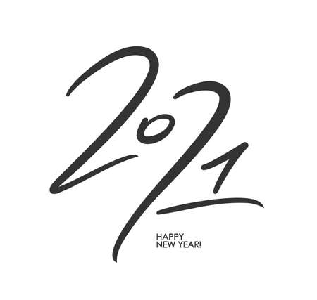 Vector Handwritten calligraphic brush number lettering of 2021 on white background. Happy New Year. Ilustracja
