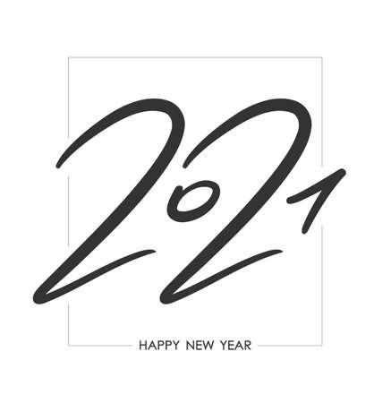 Vector Handwritten calligraphic brush number lettering of 2021 in frame. Happy New Year.