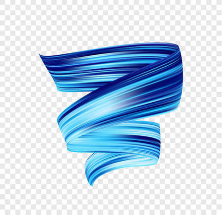 Vector 3d blue colored brush stroke oil or acrylic paint. Color flow. Wave Liquid shape.