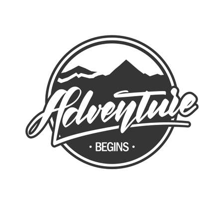 Vector Retro emblem label with mountains landscape and calligraphic lettering of Adventure begins.
