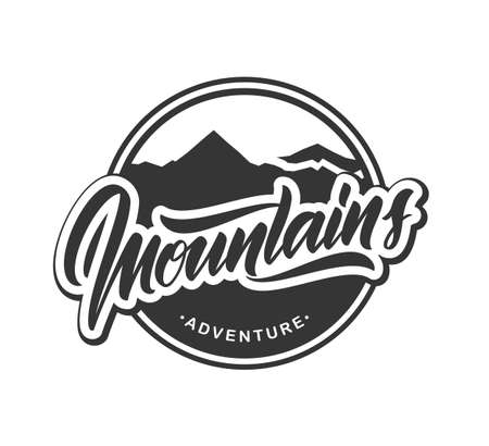 Vector illustration: Retro emblem label with calligraphic lettering of Mountains Adventure.