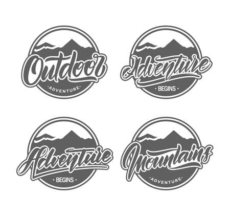 Vector illustration: Set of Retro outdoor and mountains emblems.