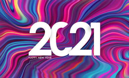 Vector illustration: Number of 2021. Happy new year. Colorful flow background Trendy design