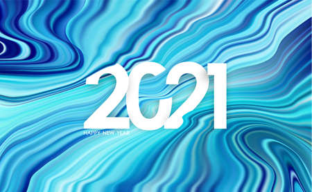 Vector illustration: Happy new year. Number of 2021 on modern blue flow background. Trendy design Иллюстрация