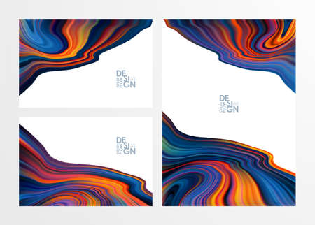 Vector illustration: Set of three Abstract colorful flow backgrounds. Wave color Liquid shape. Marble effect.