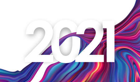 Vector illustration: Number of 2021 on modern colorful flow background Trendy design