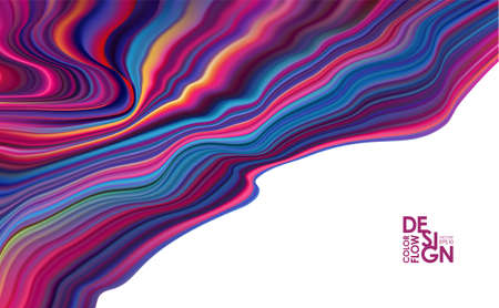 Vector illustration: Abstract colorful flow. Wave color Liquid shape. Trendy designt.