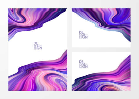Vector illustration: Set of three template of Abstract colorful flow backgrounds. Wave color Liquid shape. Marble effect. Ilustracja