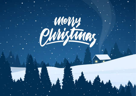 Vector illustration: Winter christmas night landscape with cartoon house and handwritten lettering of Merry Christmas Vettoriali
