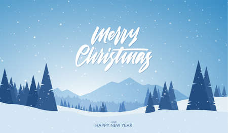 Vector illustration. Blue mountains winter snowy landscape with hand lettering of Merry Christmas and pine forest on foreground. Vettoriali