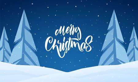Vector illustration: Handwritten elegant modern brush lettering of Merry Christmas on blue night winter background. 矢量图像