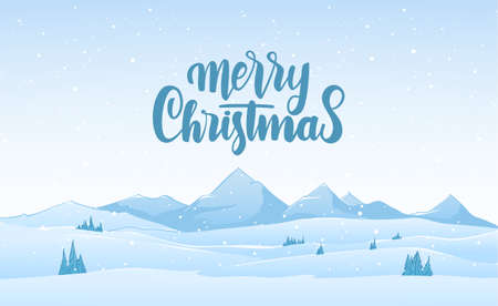 Vector illustration. Blue mountains winter snowy landscape with hand lettering of Merry Christmas