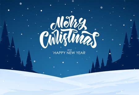 Vector illustration: Handwritten elegant lettering of Merry Christmas on blue night winter background.