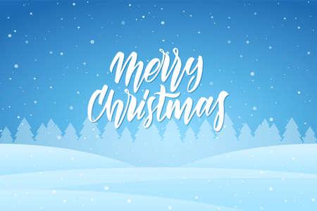 Vector illustration: Handwritten elegant modern lettering of Merry Christmas on blue night winter background. 矢量图像