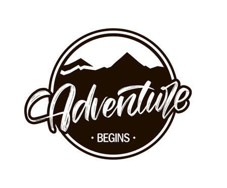 Vector Retro label with mountains landscape and calligraphic lettering of Adventure begins.