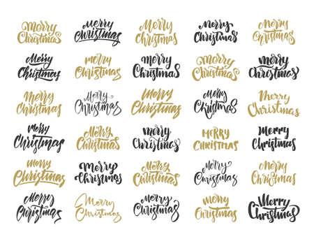 Vector illustration. Big set of Handwritten elegant modern brush lettering of Merry Christmas.